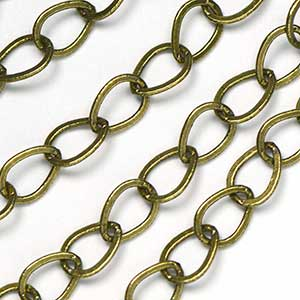 Antique Brass Ox 6x7.75mm Teardrop Link Chain by the Foot