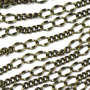 Antique Brass 3-and-5 Curb and Dapped Chain sold by the foot