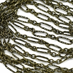 Antique Brass Sunburst Laser Link Chain Sold by the Foot