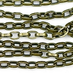 Antique Brass 4.5x3x1mm Long Rollo Chain Sold by the foot