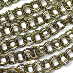 Antique Brass 7mm Semi-Textured Double Cable Chain Sold by the foot