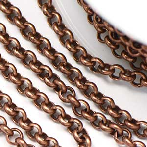 Antique Copper 3.5mm Rolo Chain (per 25-foot spool/hank)