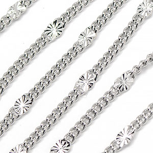 Luxury Rhodium Plated Star Link Chain Sold by the Foot