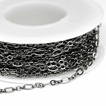 Gunmetal/Hematite Small 2.5x4mm 3-and-1 Cable Chain (per 25-foot spool)