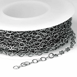 Gunmetal/Hematite 3x3.5mm Modified Flat Peanut/Oval Link Cable Chain (per 25-foot spool)