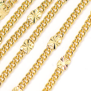 Luxury Gold Plated Star Link Chain Sold by the Foot
