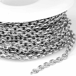 Stainless Steel 3.5x4.5mm Small Diamond Cut Cable Chain (per 25-foot spool/hank)
