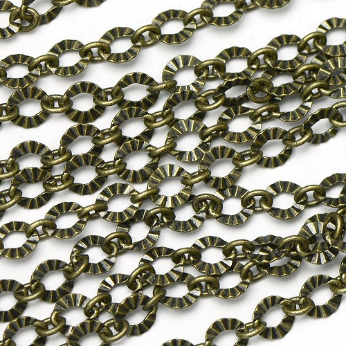 Antique Brass Plate Crinkle 1 to 1 Link Chain