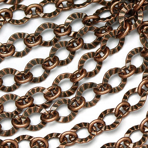 Antique Copper Crinkle 1 to 1 Link Chain