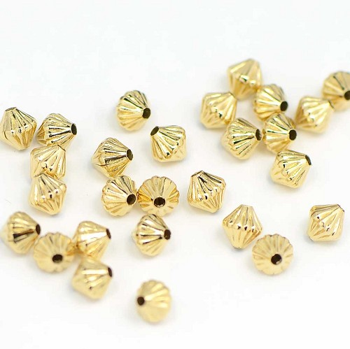 Luxury Gold Plated Fluted Diamond Bead (50/Pkg)