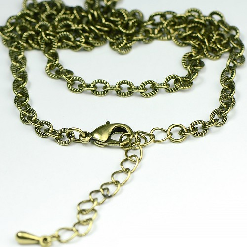 "Antique Brass Finished Textured Link Necklace Chain (18"")"