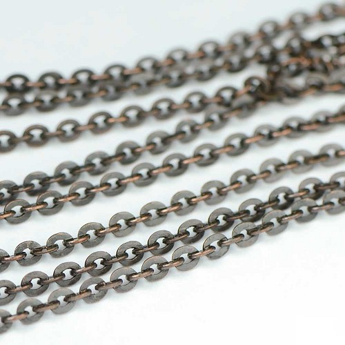 Dark Antique Copper Mini Flash Chain by the Foot