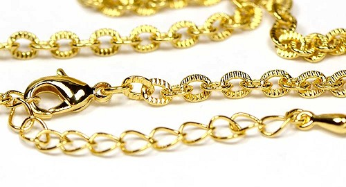 "Luxury Gold Finished Textured Link Necklace Chain (18"")"