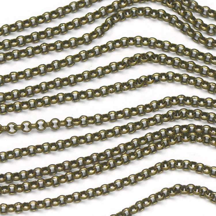 Antique Brass 2mm Small Smooth Rollo Chain sold by the foot