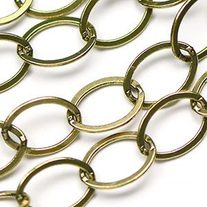 Antique Brass Medium 9x12.5mm Flat Oval Chain sold by the foot