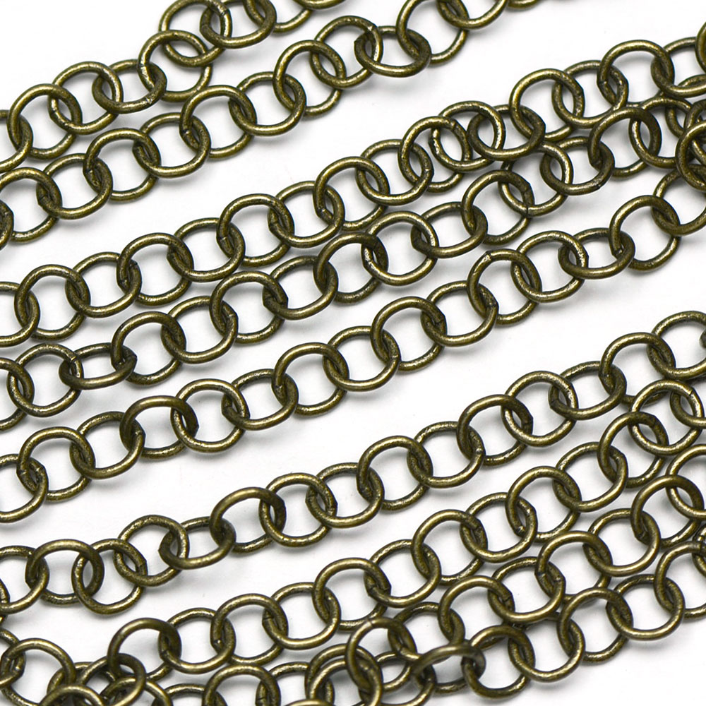 Antique Brass Handmade 5x5mm Round Chain sold by the foot