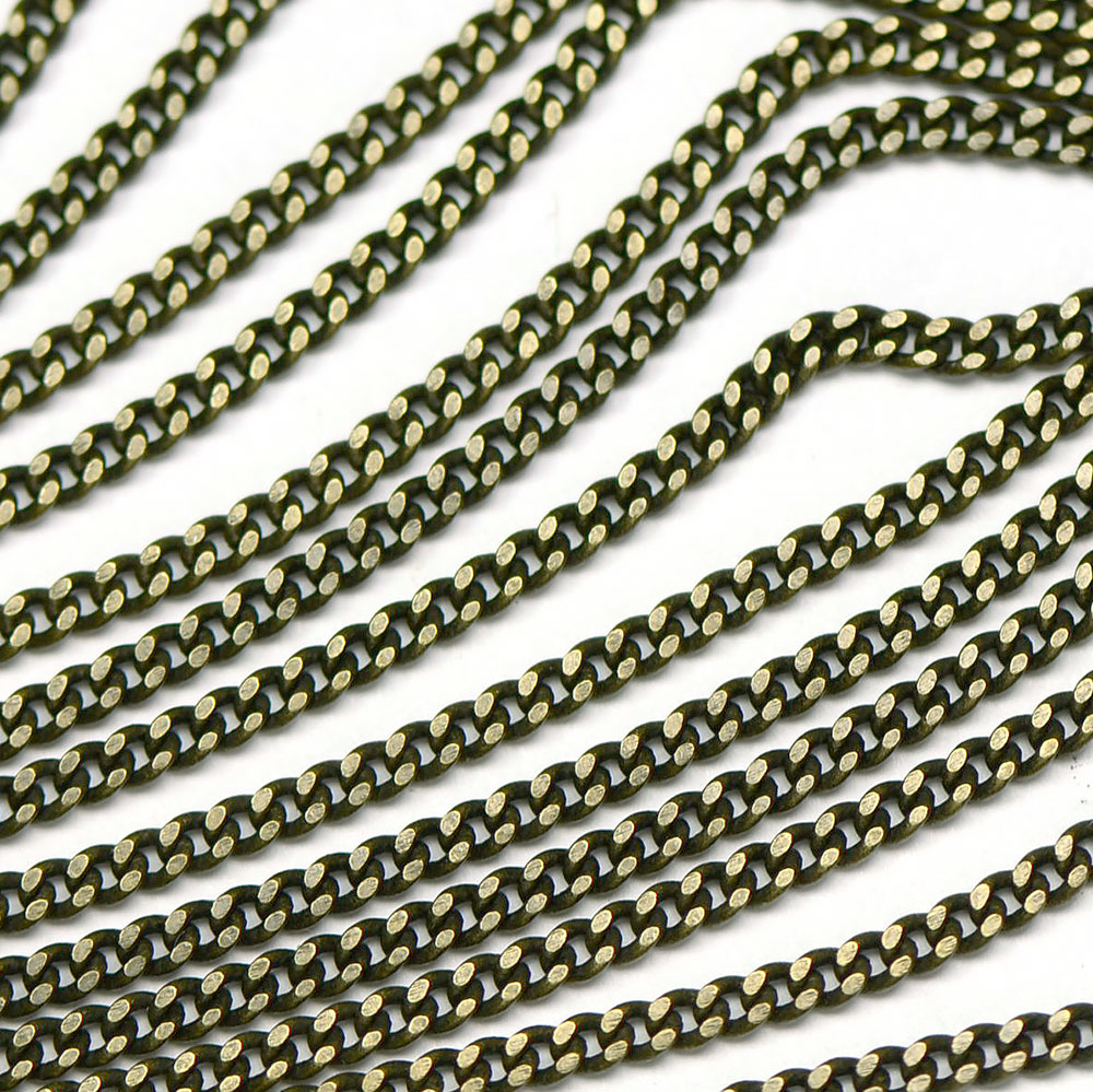 Antique Brass 2.75x2mm Filed Curb Chain sold by the foot