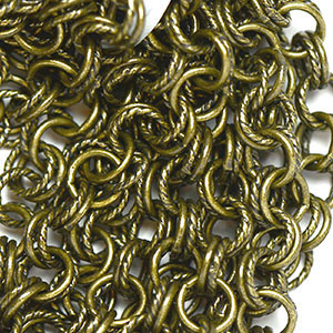 Antique Brass 7mm Semi-Textured Double Cable Chain (per 25-foot hank) at Chainologie.com