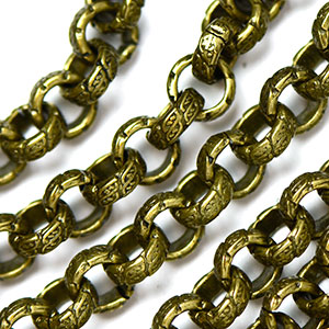 Antique Brass Vintage Stamped 6.5mm Rollo Chain sold by the foot