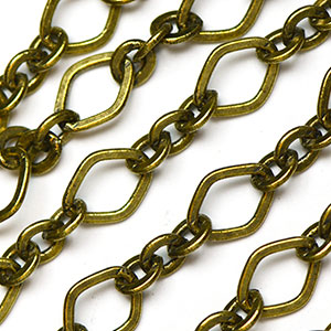 Antique Brass 3-and-1 11x8mm Rounded Diamond Link Chain sold by the foot