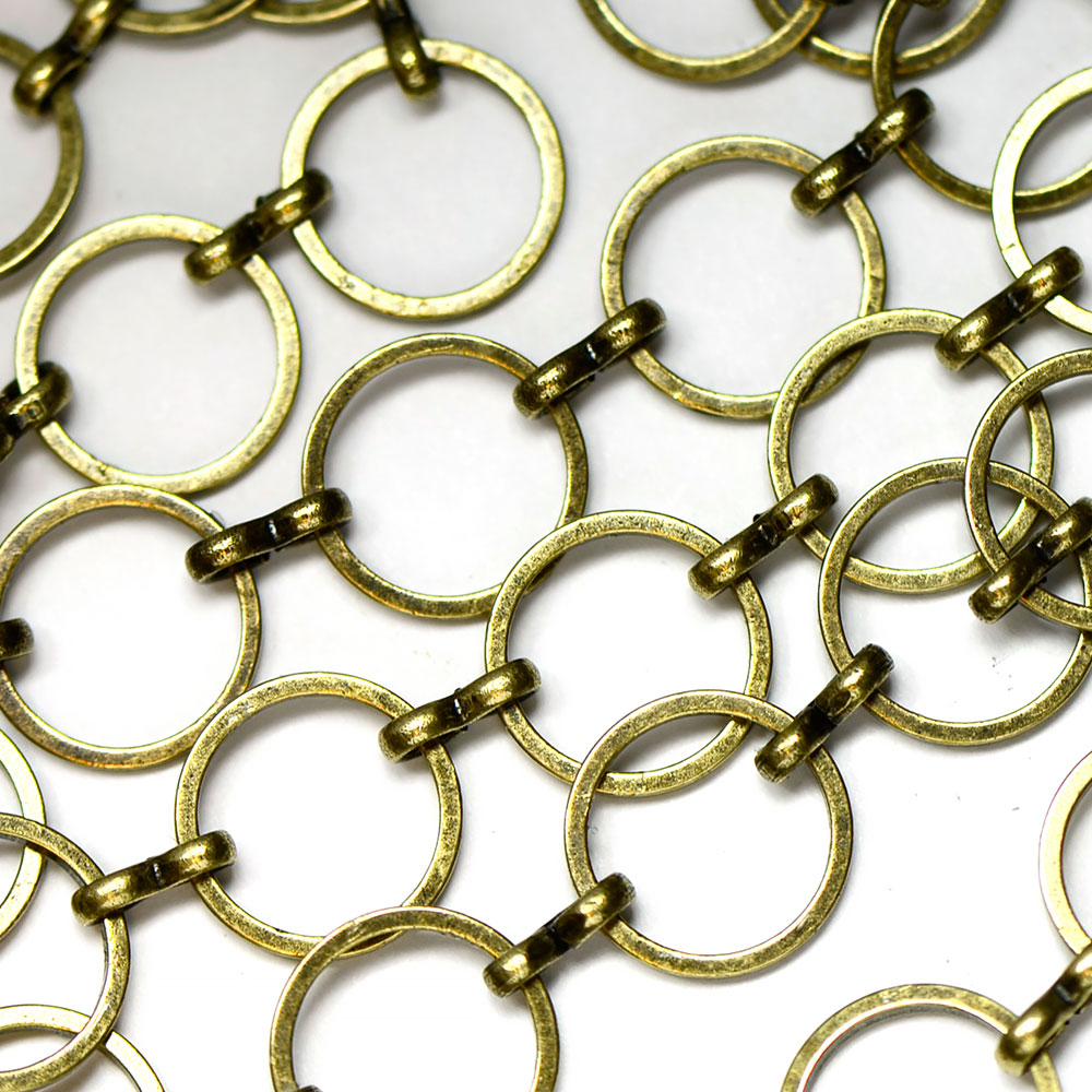 Antique Brass 12mm Round Flat Link Chain sold by the foot