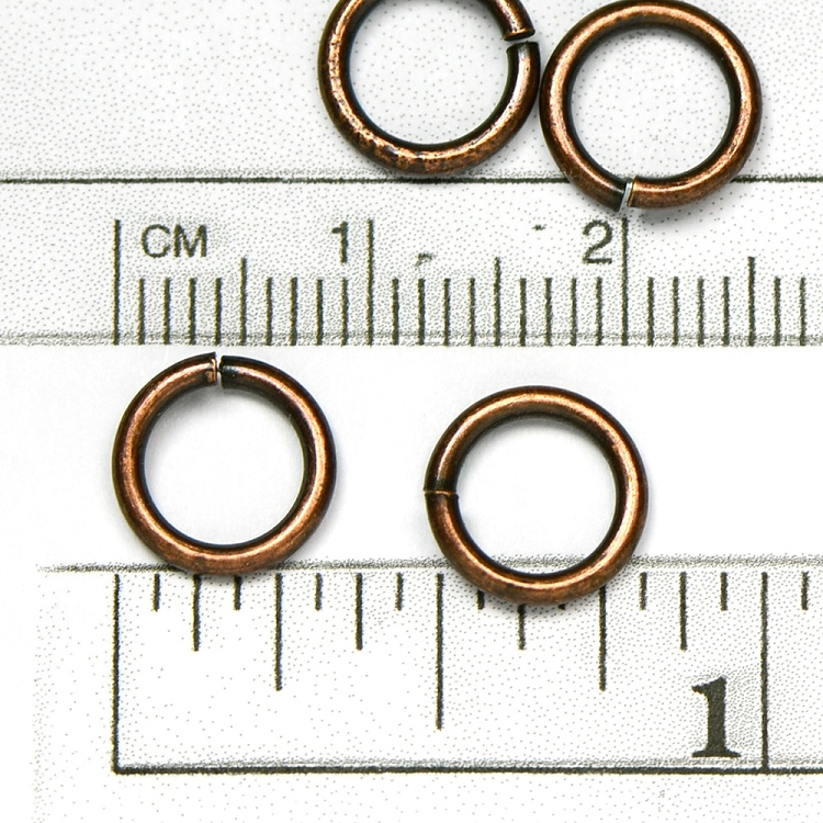 Antique Copper Plated Jump Ring: 1.27 x 9mm diameter open jump rings (25/pkg)