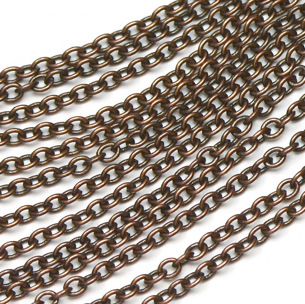 Antique Copper Small 2.25x3mm Plain Cable Chain sold by the foot