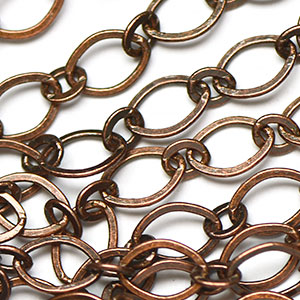 Antique Copper Plated 6x9mm Smooth Flat 1-to-1 Chain sold by the foot