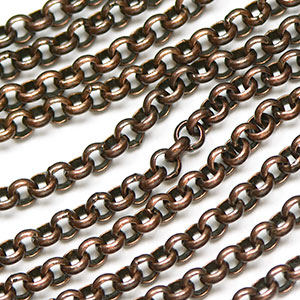 Antique Copper 3.5mm Rollo Chain sold by the foot