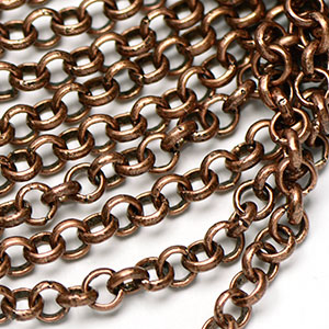 Antique Copper 5mm Rollo Chain sold by the foot