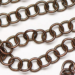 Antique Copper Plated Handmade 5x5mm Round Chain sold by the foot