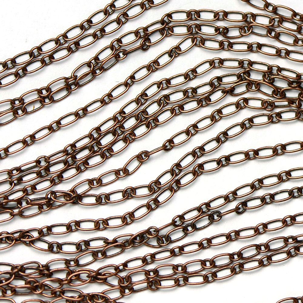 Antique Copper 4x2.5mm Tiny Long-and-Short Link Chain sold by the foot