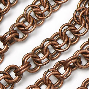 Antique Copper Plated 4mm Double Cable Chain sold by the foot