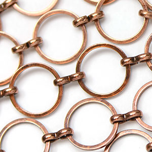 Antique Copper 12mm Round Flat Link Chain sold by the foot