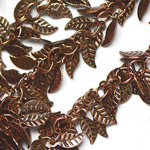 Antique Copper Plate Fancy Leaf Fringe Chain sold by the foot
