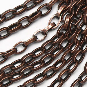 Antique Copper 4.5x3x1mm Long Rollo Chain sold by the foot