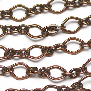 Antique Copper 3-and-1 11x8mm Rounded Diamond Link Chain sold by the foot