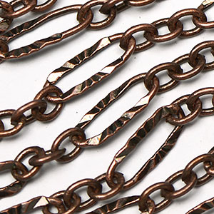 Antique Copper 3-and-1 Sunburst Laser Link Chain sold by the foot
