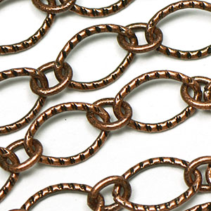 Antique Copper 6x9mm Textured Flat Oval 1-to-1 Cable Chain sold by the foot