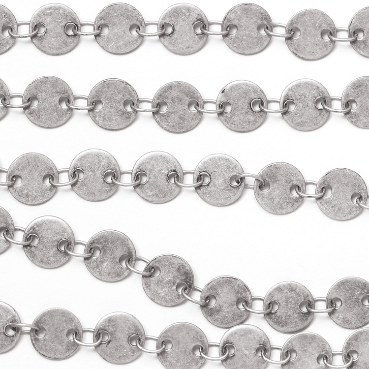 Antique Silver Plated 6mm Disc Chain Sold by the Foot