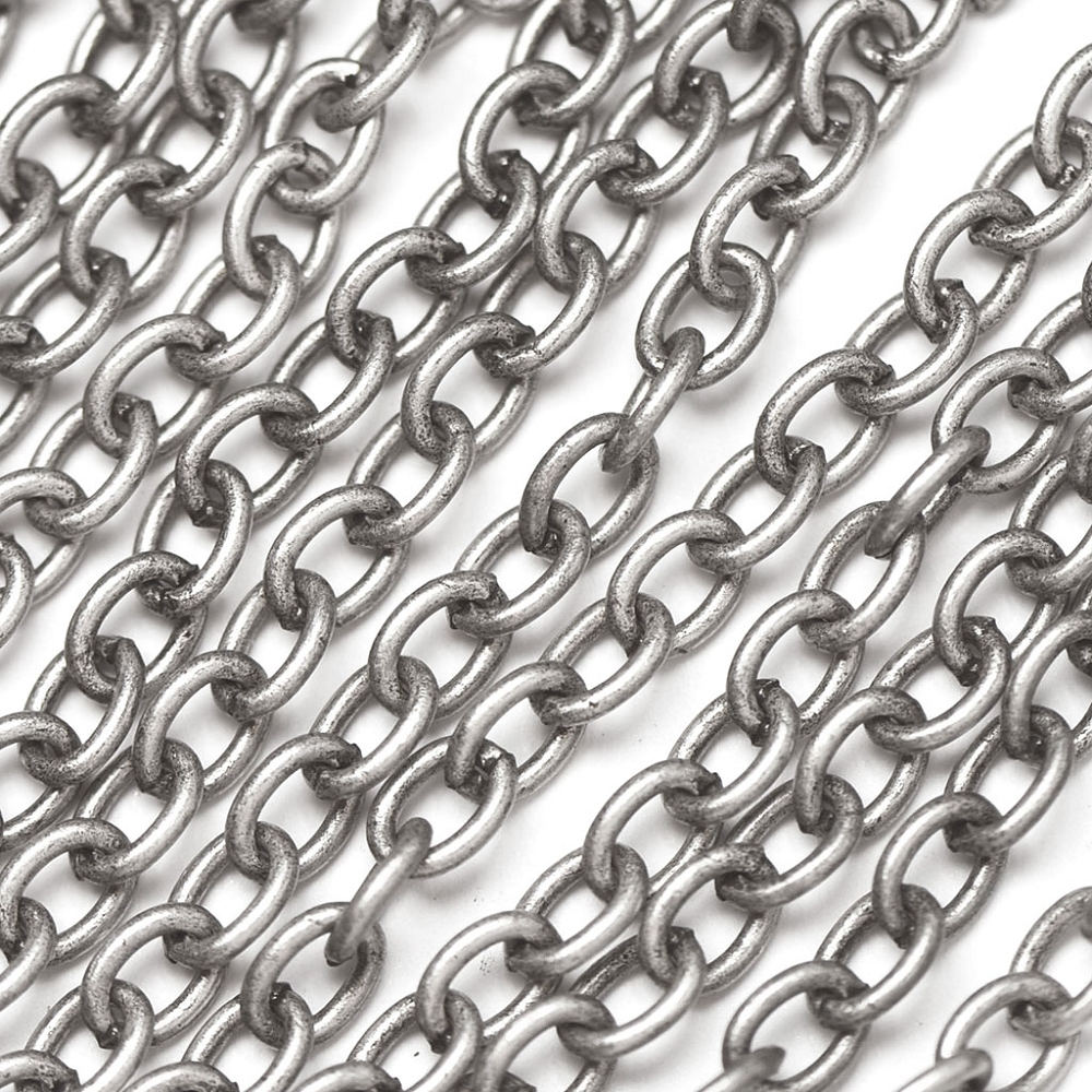Antique Silver Plated 5x7mm Oval Cable Chain sold by the foot