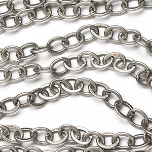 Antique Silver 3.5x2.25mm Small Flat Cable Chain sold by the foot