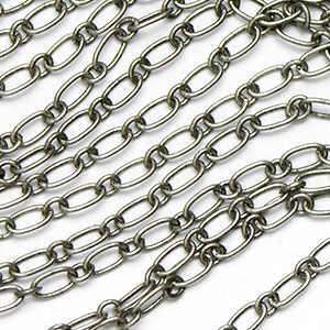 Antique Silver Plated Tiny Long and Short Link Chain sold by the foot
