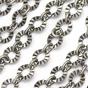 Antique Silver 1-to-1 6x5.5mm Crinkle Link Chain sold by the foot