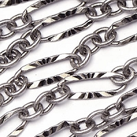Antique Silver Sunburst Laser Link Chain sold by the foot