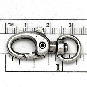 Antique Silver Plated Clasp: 31MM Super Swivel (each)