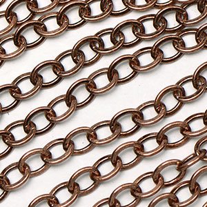 Antique Copper 3.5x2.25mm Small Flat Cable Chain sold by the foot