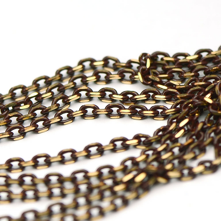 Colored Brass Brown Filed Cable Chain sold by the foot
