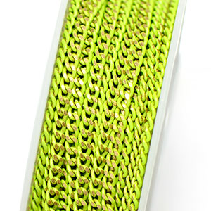 Colored Brass Lime 2.75x2mm Filed Curb Chain (per 25-foot section)