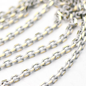 Colored Brass White Filed Cable Chain sold by the foot